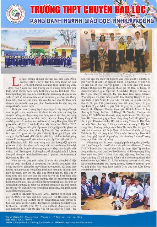 Thủ tưởng Chính phủ tặng cờ thi đua cho trường THPT Chuyên Bảo Lộc