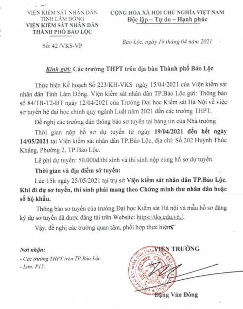 Đại học Kiểm sát Hà Nội thông báo sơ tuyển