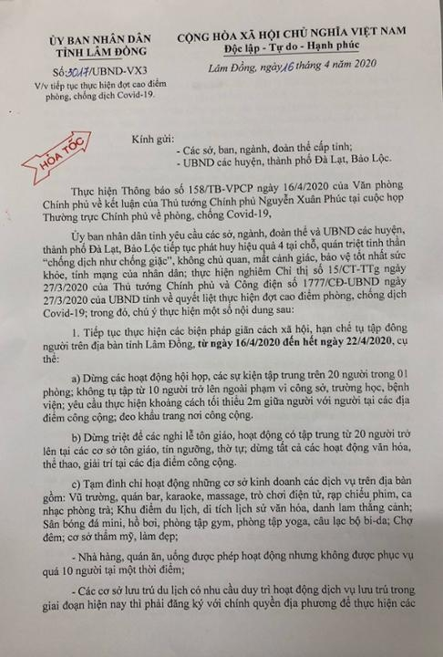 Lâm Đồng: tiếp tục thực hiện đợt cao điểm phòng chống dịch Covid-19