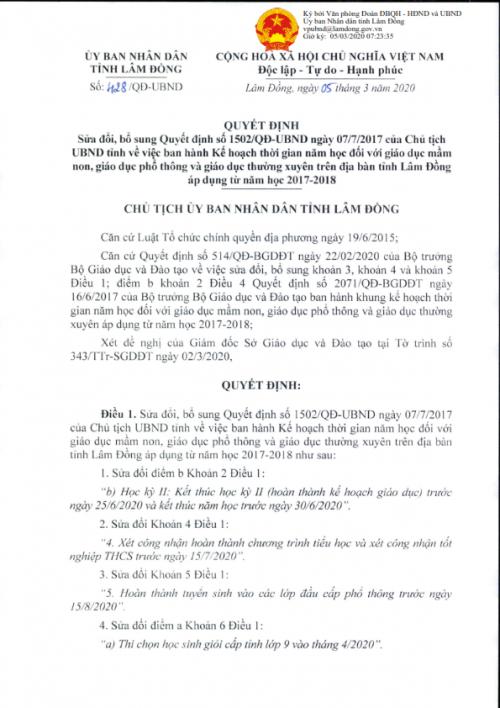 QĐ số 428/QĐ-UBND v/v Sửa đổi, bổ sung Quyết định số 1502/QĐ-UBND ngày 07/7/2017 của Chủ tịch UBND tỉnh về việc ban hành kế hoạch thời gian năm học đối với giáo dục mầm non, giáo dục phổ thông và giáo dục thường xuyên trên địa bàn tỉnh Lâm Đồng