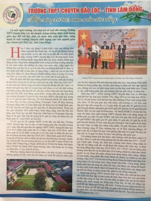 Tạp chí xây dựng Đảng đưa tin về trường THPT Chuyên Bảo Lộc nhân dịp kỷ niệm 70 năm ngày truyền thống thi đua yêu nước