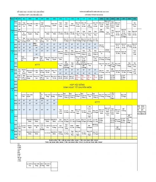 Thời khóa biểu năm học 2018 - 2019 Áp dụng từ tuần 8 (8/10/2018)