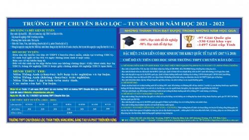 Thông tin tuyển sinh lớp 10 Chuyên năm học 2021 - 2022