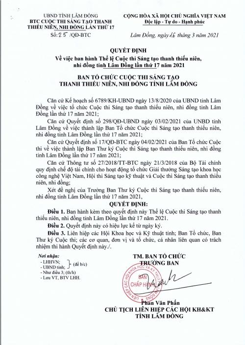 """Cuộc thi """"Sáng tạo thanh thiếu niên - Nhi đồng"""" tỉnh Lâm Đồng lần thứ 17 năm 2021"""