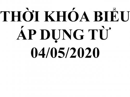 TKB áp dụng từ 04.05.2020